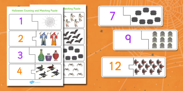 Halloween Counting Puzzle - Halloween, Counting, Puzzle, Numbers