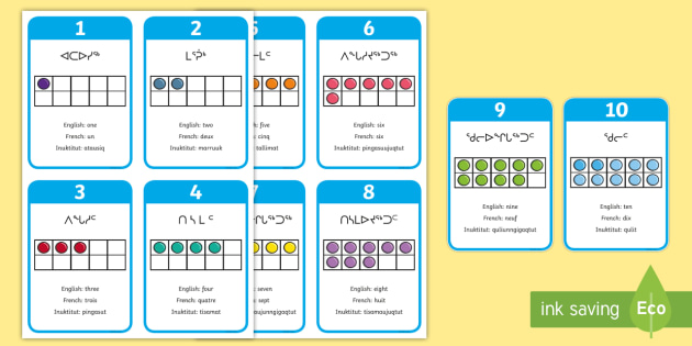 Counting to 10 in Inuktitut Flashcards - Inuktitut, Aboriginals, Inuit, Counting, Numbers and Number Sense, indigenous, numbers to 10, number