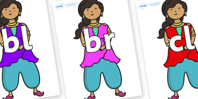 Initial Letter Blends on Princess - Initial Letters, initial letter, letter blend, letter blends, consonant, consonants, digraph, trigraph, literacy, alphabet, letters, foundation stage literacy