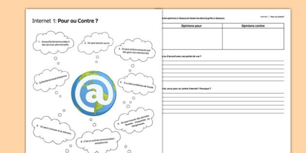L'Internet : pour ou contre? (1) - Internet, Pros, Cons, Advantages, Disadvantages, France, world wide web,