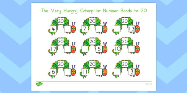 Number Bonds to 20 to Support Teaching on The Very Hungry Caterpillar - australia, caterpillar