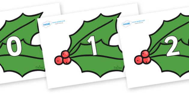 Numbers 0-50 on Holly - 0-50, foundation stage numeracy, Number recognition, Number flashcards, counting, number frieze, Display numbers, number posters
