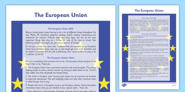 The European Union Information Sheet - Social Studies, Europe, EU, Aims, economy, society, cross-curricular