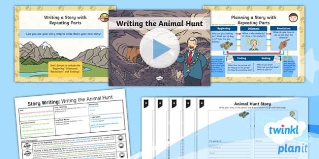 Explorers: Bear Hunt: Story Writing 5 Y1 Lesson Pack To Support Teaching on 'We're Going on a Bear Hunt'   - Repeating parts, animals, Helen Oxenbury, Jill murphy, Julia Donaldson