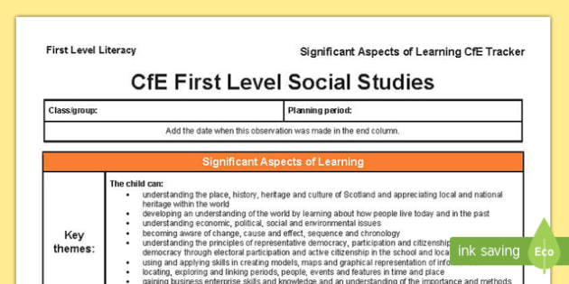 Social Studies Significant Aspects of Learning and Progression Framework CfE First Level Tracker-Scottish