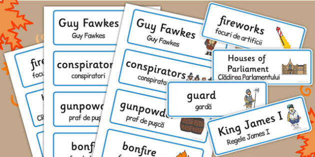 The Gunpowder Plot Topic Word Cards Romanian Translation - romanian