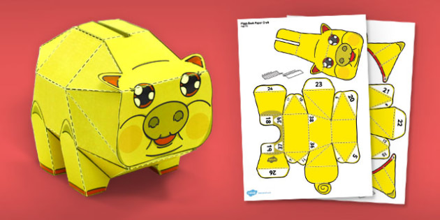 Golden Piggy Bank Paper Model - paper model, gold, piggy bank