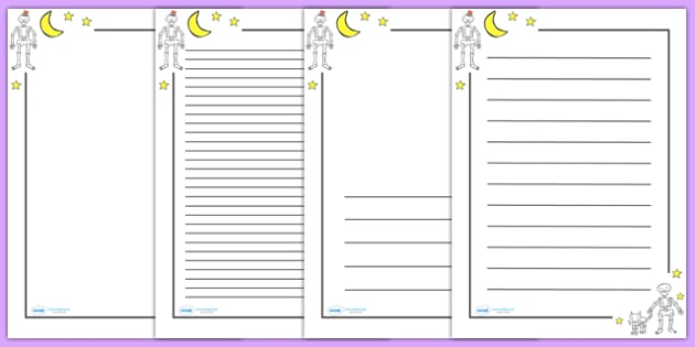 Page Borders to Support Teaching on Funnybones - Funny Bones, Janet and Alan Ahlberg, story, story book, story book resources, story sequencing, story resources, skeleton, our body, all about me, Literacy, writing, page border, a4 border, template, w