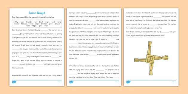 Saint Brigid Cloze with Word Bank Activity Sheet - Saint Brigid, Story, Cloze, Comprehension, reading, worksheet
