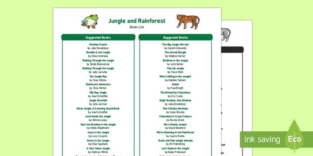 EYFS Jungle and Rainforest Book List