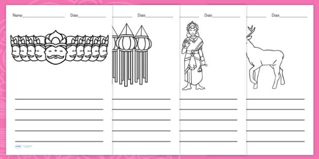 Diwali Picture Writing Templates - Diwali Picture Writing Templates, writing templates, writing, creative, independent, template, Diwali, religion, hindu, hanoman, rangoli, sita, ravana, pooja thali, rama, lakshmi, golden deer, diva lamp, sweets, new
