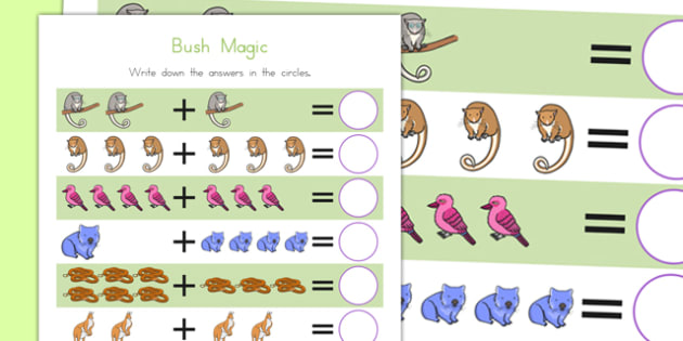 Bush Magic Up to 10 Addition Sheet - australia, bush magic, possum magic, addition