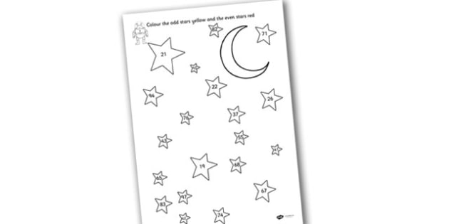 Odd and Even Colouring Stars Two-Digit Numbers - Odd, even, pattern, star, odd and even, colouring, colouring sheet, colouring worksheet, colouring stars, odd and even worksheet