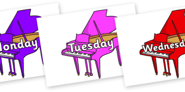 Days of the Week on Baby Grand Pianos - Days of the Week, Weeks poster, week, display, poster, frieze, Days, Day, Monday, Tuesday, Wednesday, Thursday, Friday, Saturday, Sunday