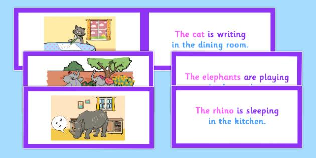 Picture Description Cards Unusual Sentences Who What Doing Where