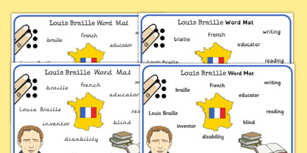 Louis Braille Word Mat - louis braille, word, mat, braille, blind
