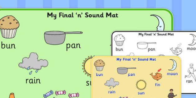 Final 'N' Sound Word Mat 2 - final n, sound, word mat, word, mat
