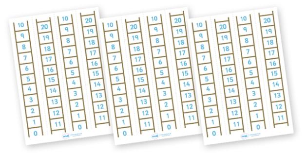 Number Ladder (0-20) - Maths, Math, number ladder, numbertrack, numberline, counting, Number line, Counting on, Counting back