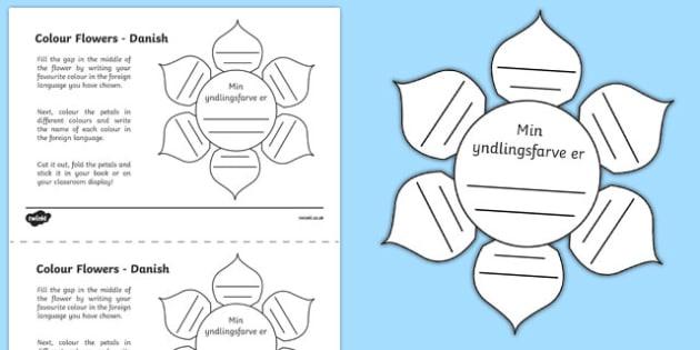 MFL Danish Colour Flowers Activity Sheet, worksheet