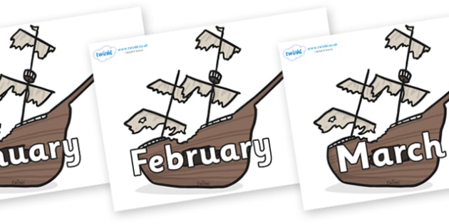 Months of the Year on Shipwrecks - Months of the Year, Months poster, Months display, display, poster, frieze, Months, month, January, February, March, April, May, June, July, August, September
