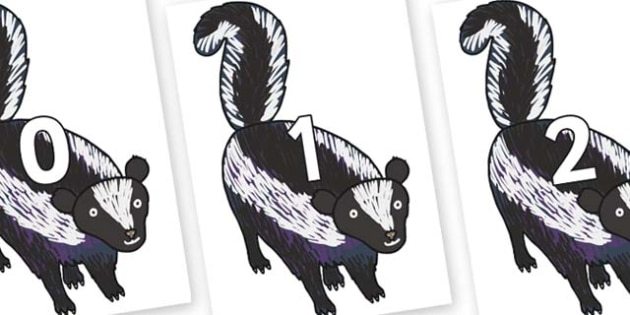 Numbers 0-50 on Skunk to Support Teaching on The Bad Tempered Ladybird - 0-50, foundation stage numeracy, Number recognition, Number flashcards, counting, number frieze, Display numbers, number posters