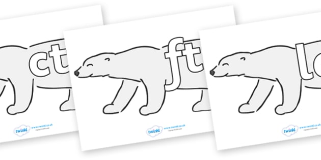 Final Letter Blends on Polar Bears - Final Letters, final letter, letter blend, letter blends, consonant, consonants, digraph, trigraph, literacy, alphabet, letters, foundation stage literacy