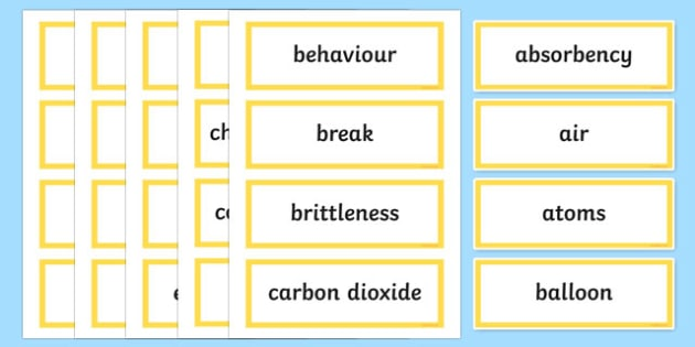 What's the Matter? Word Wall Display Cards - australia, Australian Curriculum, What's The Matter, science, Year 5, word wall, display
