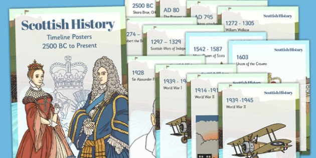 Scottish History Timeline Display Posters - scottish, history