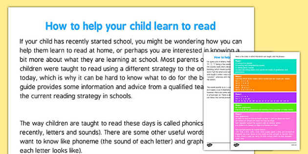 Guide For Parents: How To Help Your Child Read Using Phonics