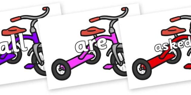 Tricky Words on Trikes - Tricky words, DfES Letters and Sounds, Letters and sounds, display, words