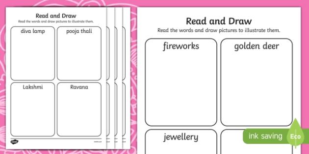 Diwali Read and Draw Activity Sheet, worksheet