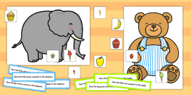Elephant and Teddy Following Instructions Word Game 4ICW - game