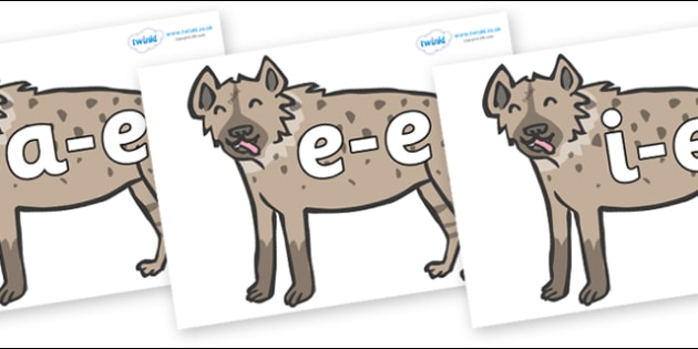 Modifying E Letters on Hyenas - Modifying E, letters, modify, Phase 5, Phase five, alternative spellings for phonemes, DfES letters and Sounds