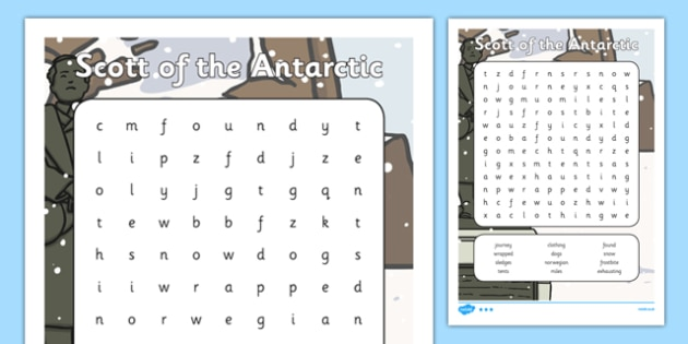Scott of the Antarctic Word Search - history, significant, individuals, antarctica, south, pole, primary, nature, geography, maps, visual, aid