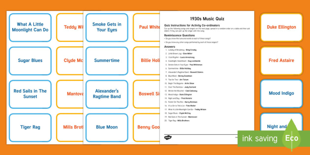 1930s Music Quiz Matching Cards - Singing, Tips, Elders, Activity Co-ordinators, Care Homes, Elderly Care, Quiz, Match, Singer, Song,