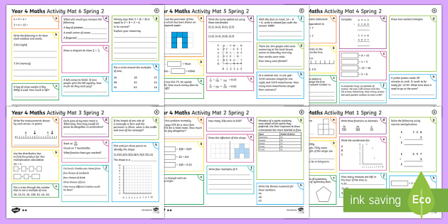 Year 4 Spring 2 Maths Activity Mats - Year 4 Maths Activity Mats Spring 2, maths skills, multiplication, addition, subtraction, division,