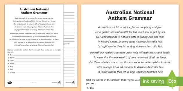 Australian National Anthem grammar Activity Sheet - australia, national anthem, australian anthem, national anthem, advance australia fair,Australia, wo