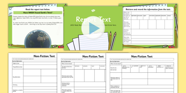 Report Text, Read, Record and Present Information UKS2 Lesson Pack