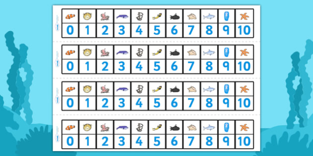 Under the Sea Number Track (1-10) - Under the Sea, Sea, Maths, Math, number track, farm, numbertrack, Counting, Numberline, Number line, Counting on, Counting back, fish, octopus, sea, seaside, water, tide, fish, sea creatures, shark, whale, marine l