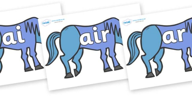 Phase 3 Phonemes on Blue Horse to Support Teaching on Brown Bear, Brown Bear - Phonemes, phoneme, Phase 3, Phase three, Foundation, Literacy, Letters and Sounds, DfES, display