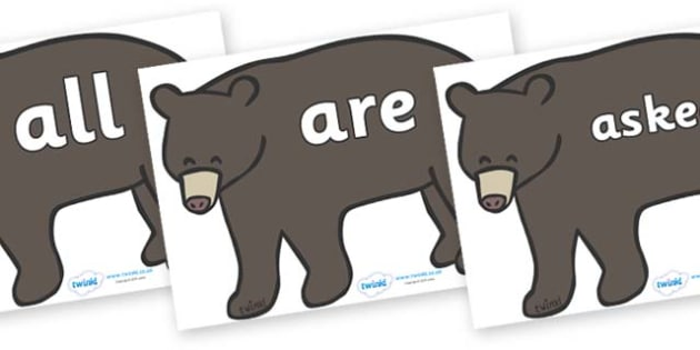 Tricky Words on Grizzly Bears - Tricky words, DfES Letters and Sounds, Letters and sounds, display, words