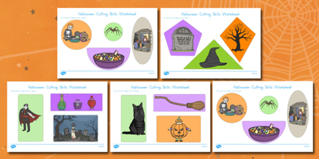 Halloween Themed Cutting Skills Worksheet - american, US, fine motor skills, pd, early years, Key stage 1, KS1