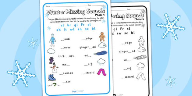 Winter Phase 4 Missing Blends Worksheet - winter, phase 4, blends