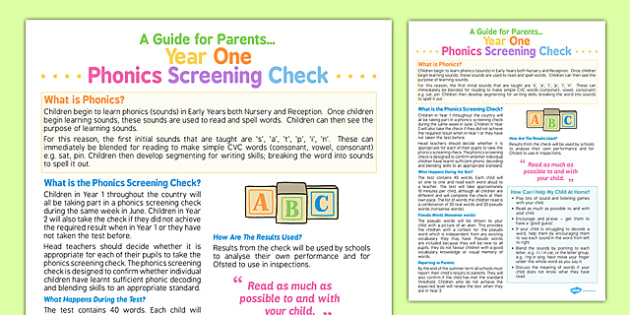 Year 1 Phonics Screening Check A Guide for Parents