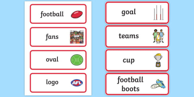Australian Football League Word Cards - AFL, football, visual aid