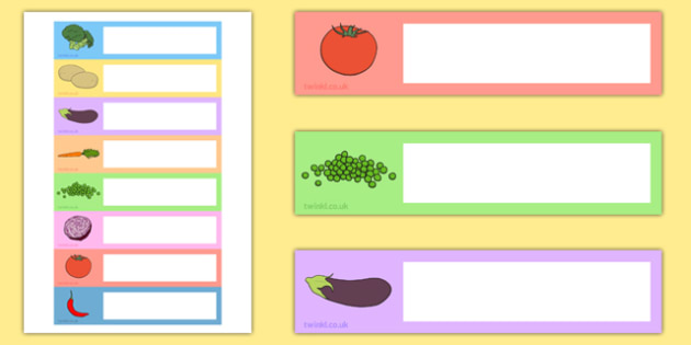 Vegetable-Themed Editable Gratnells Tray Labels - vegetable, editable, gratnells, tray labels, display