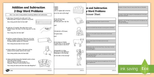 Addition and Subtraction Word Problems Activity Sheet Year 2 - Maths, addition, subtraction, word problems, 2-step, Year 2, worksheet