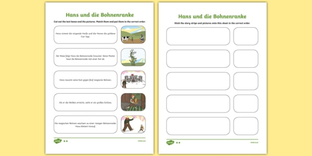 Jack and the Beanstalk Sequencing German Activity Sheet Pack, worksheet