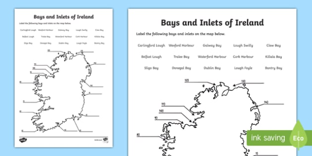 Bays and Inlets of Ireland Map Activity Sheet, worksheet