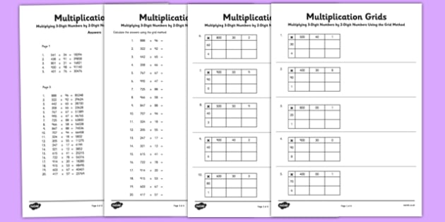 Multiplying 3 Digit Numbers by 2 Digit Numbers Using Grid Method Activity Sheet Pack - Multiplication, grid method, worksheet